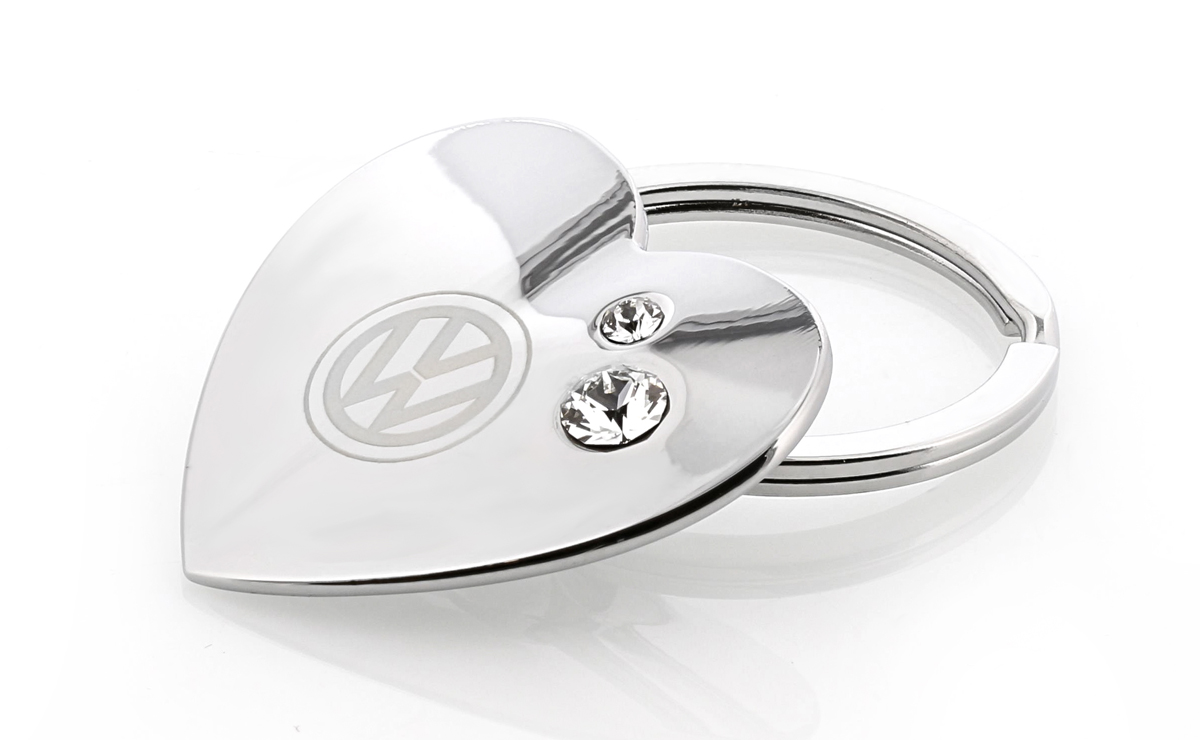 Volkswagen Heart Shaped Key Chain with Logo /& White Swarovski Crystals Black Clear