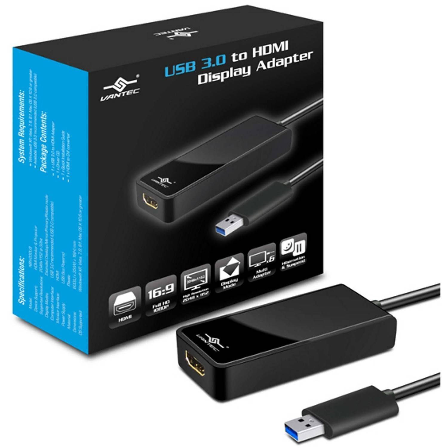 Vantec NBV-200U3 USB 3.0 to HDMI Display Adapter, Black