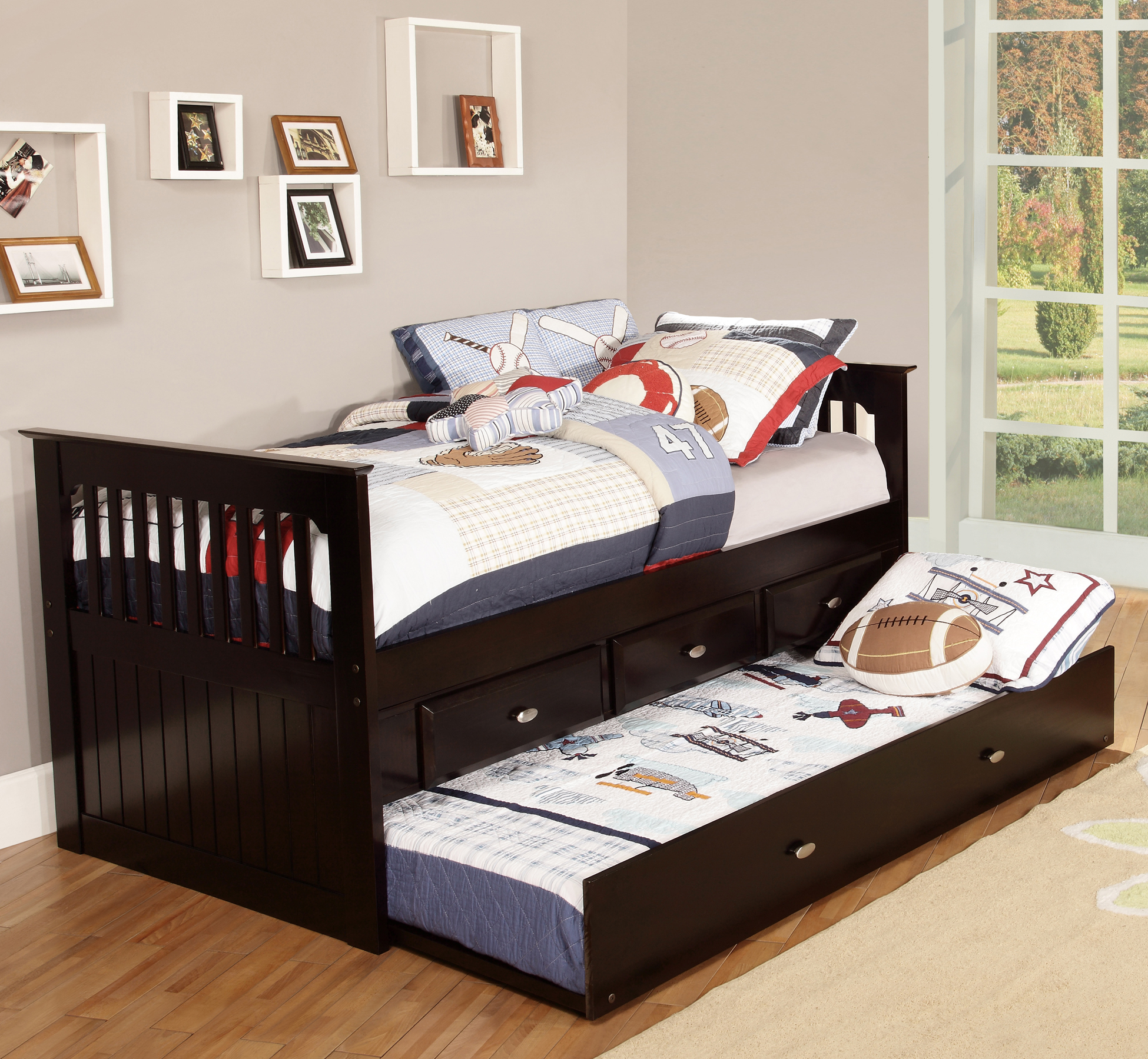 American Furniture Classics Model 2935-TRE, Solid Pine Twin Rake Bed with Trundle and Three Underbed Drawers in Espresso
