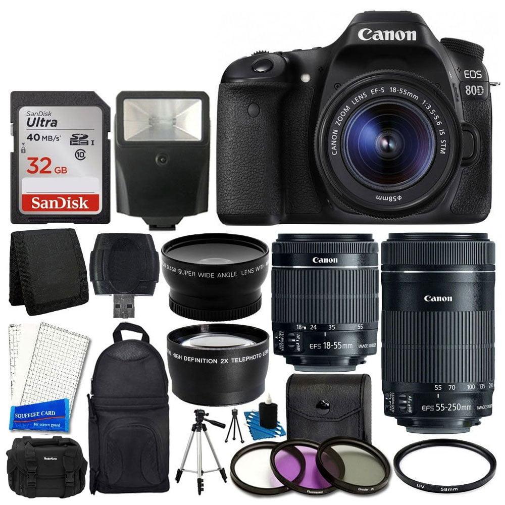 Canon EOS 80D DSLR Camera Body + Canon EF-S 18-55mm IS STM & Canon EF-S 55-250mm IS STM Lens + 58mm 2x Lens + Wide Angle Lens + 32GB Memory Card + Auto Power Flash + UV Filter Kit + Accessory BundleCa