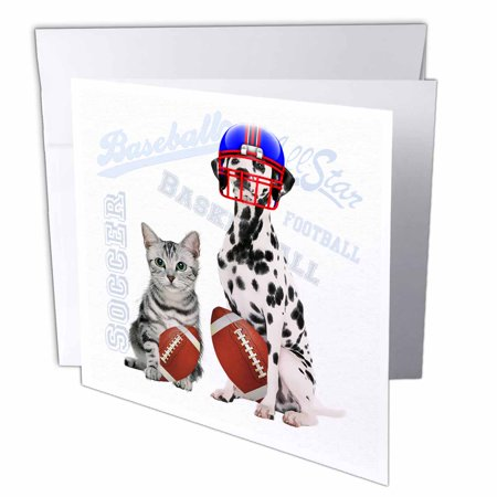 Gray Tabby Cats - 3dRose Gray Tabby Cat and Dalmatian with Footballs, fun Sports Theme, Greeting Cards, 6 x 6 inches, set of 12