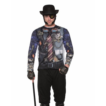 Adult's Mens Futuristic Steampunk Gentleman Printed Costume Sublimation Shirt