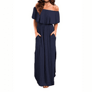 Senfloco Women Ruffled Off Shoulder Long Maxi Dresses With Pockets Party Holiday Bridesmaid Cocktail