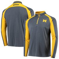 Michigan Wolverines Colosseum The J. Peterman Quarter-Zip Pullover Jacket - Heathered Navy