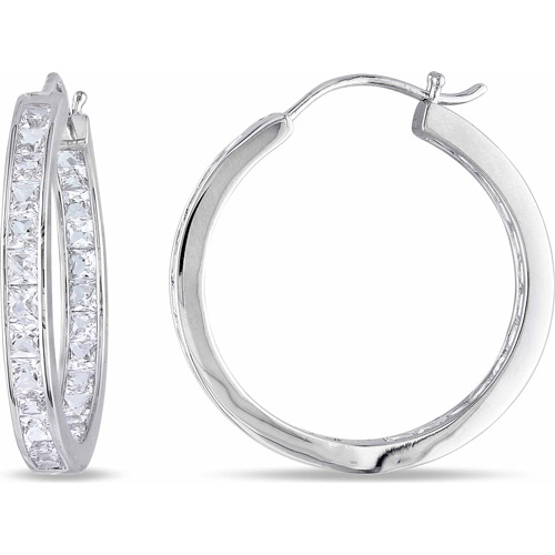 Miabella 6-1/4 Carat T.G.W. Created White Sapphire Sterling Silver Hoop Earrings