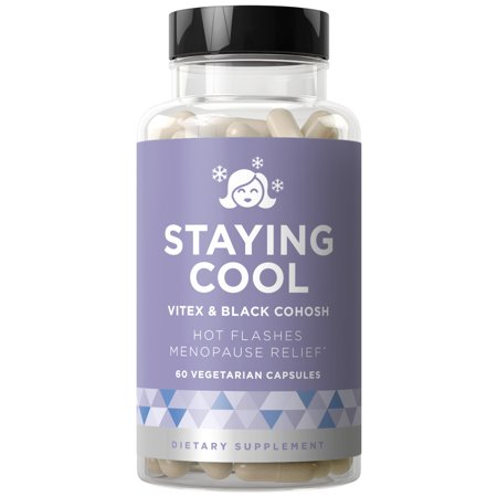 Staying Cool Hot Flashes & Menopause Natural Relief - Hormonal Weight Support, Night Sweats, Disturbed Sleep, Mood Swings - Vitex Chaste Tree & Black Cohosh Pills - 60 Vegetarian Soft