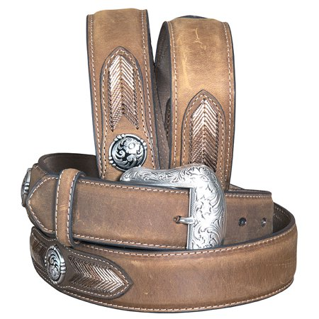 Nocona Western Belt Mens Leather Laced Conchos Copper (Nocona Concho)