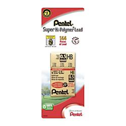 Pentel® Super Hi-Polymer Fine Line Lead Refills, 0.5 mm, HB Hardness, Pack Of 144