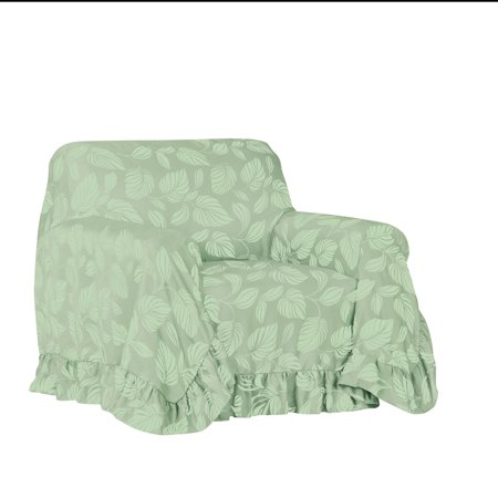 Leaf Pattern Ruffled Furniture Throw Cover - Furniture Protector for Easy Coverage, Chair, - Ruffled Chair Covers