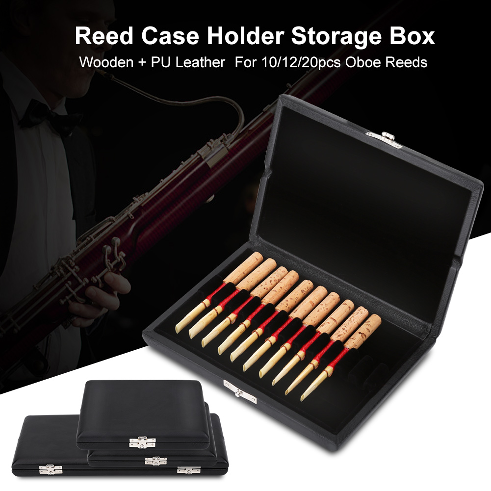 HERCHR Wooden + PU Leather Cover Reed Case Holder Storage Box for 10/12/20pcs Oboe Reeds, Oboe Reeds Box, Oboe Reeds Case