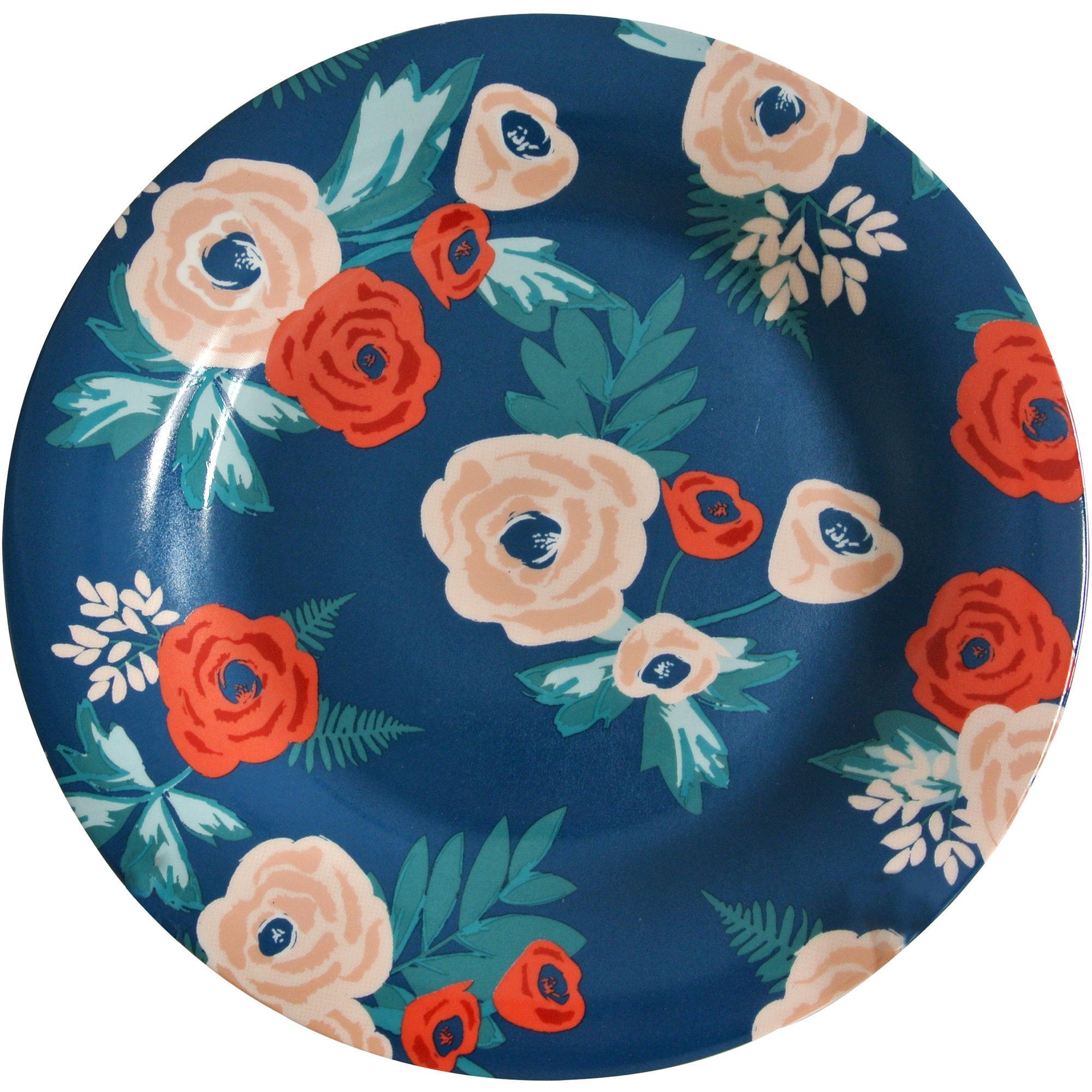 Mainstays Navy Floral 4-Pack Stoneware Dinner Plates