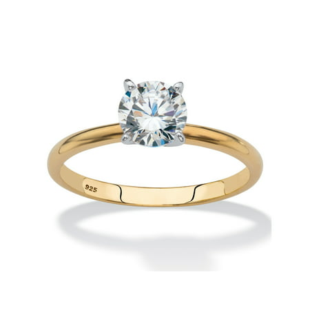 Si2 18k Yellow Gold Solitaire (Round Cubic Zirconia Solitaire Engagement Ring 2 TCW in 18k Yellow Gold over Sterling Silver )