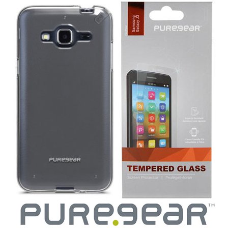Galaxy Amp Prime Case with Screen Protector, PureGear SlimShell Hard Cover + Tempered Glass Screen Guard for Samsung Galaxy AMP PRIME, Cricket SM-J320A, AT&T GO Phone J320A, Sky S320VL ()