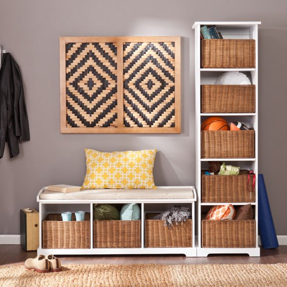 Magnificent Loring Entryway Storage Bench White Walmart Com Cjindustries Chair Design For Home Cjindustriesco