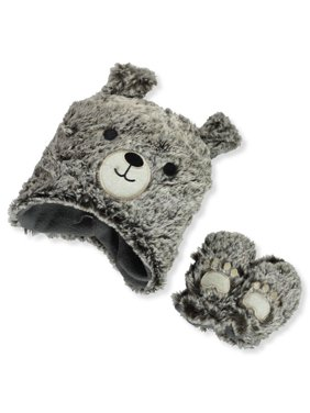 Astor Accessories Baby Boys' Bear Pawed Hat & Mittens Set