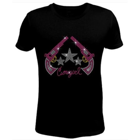 Bling Rhinestone Womens T Shirt Cowgirl with Sparkling Boot JRW-502 (Wear Cowgirl Boots)