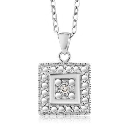 Gorgeous Round Natural Diamond Square Pendant Necklace With 18 Inch Chain