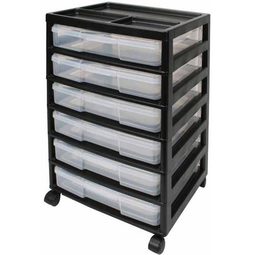 """IRiS 6 Compartment, Acid-Free Project Case Scrapbook Chest With Six 12"""" x 12"""" Drawers, 15.88"""" x 14.25"""" x 26.75"""", Black"""