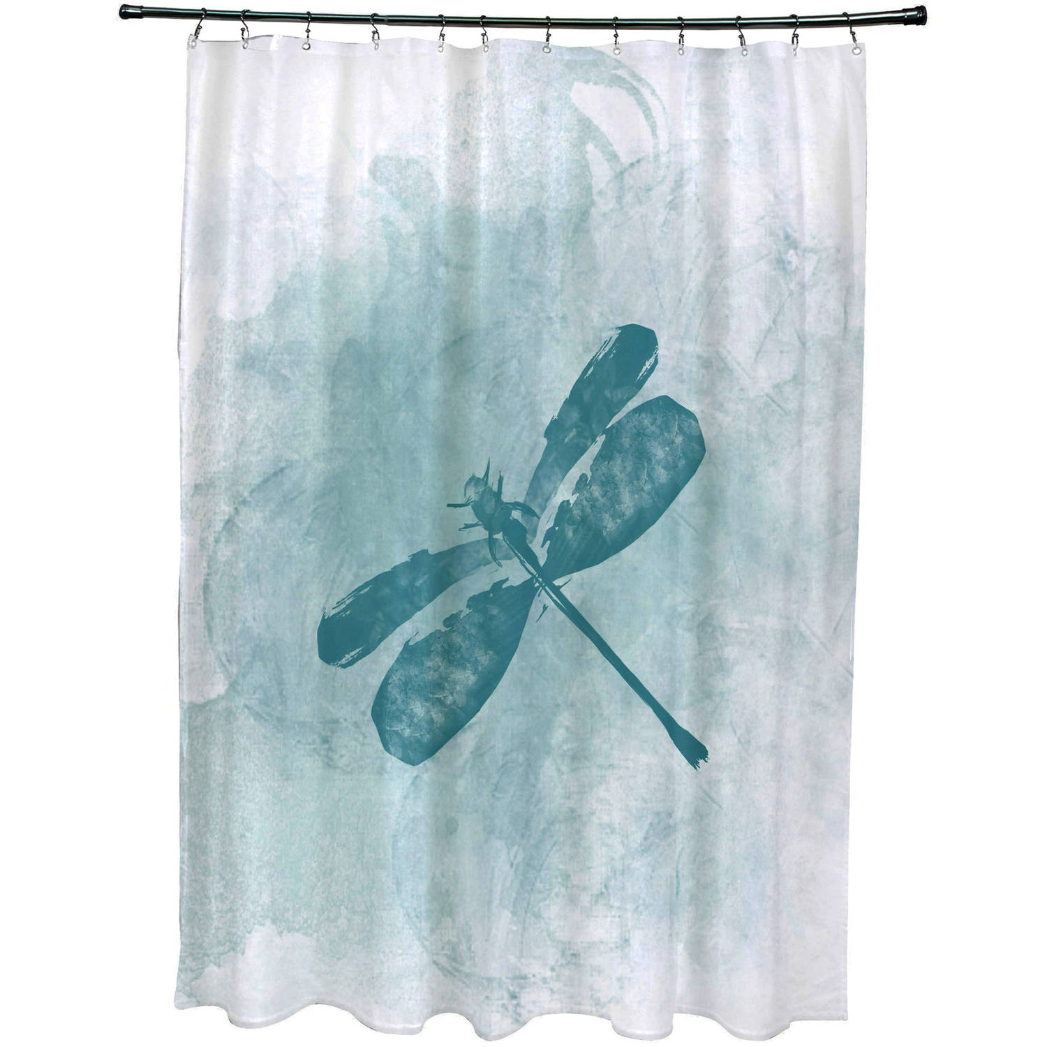"Simply Daisy 71"" x 74"" Dragonfly Summer Animal Print Shower Curtain"