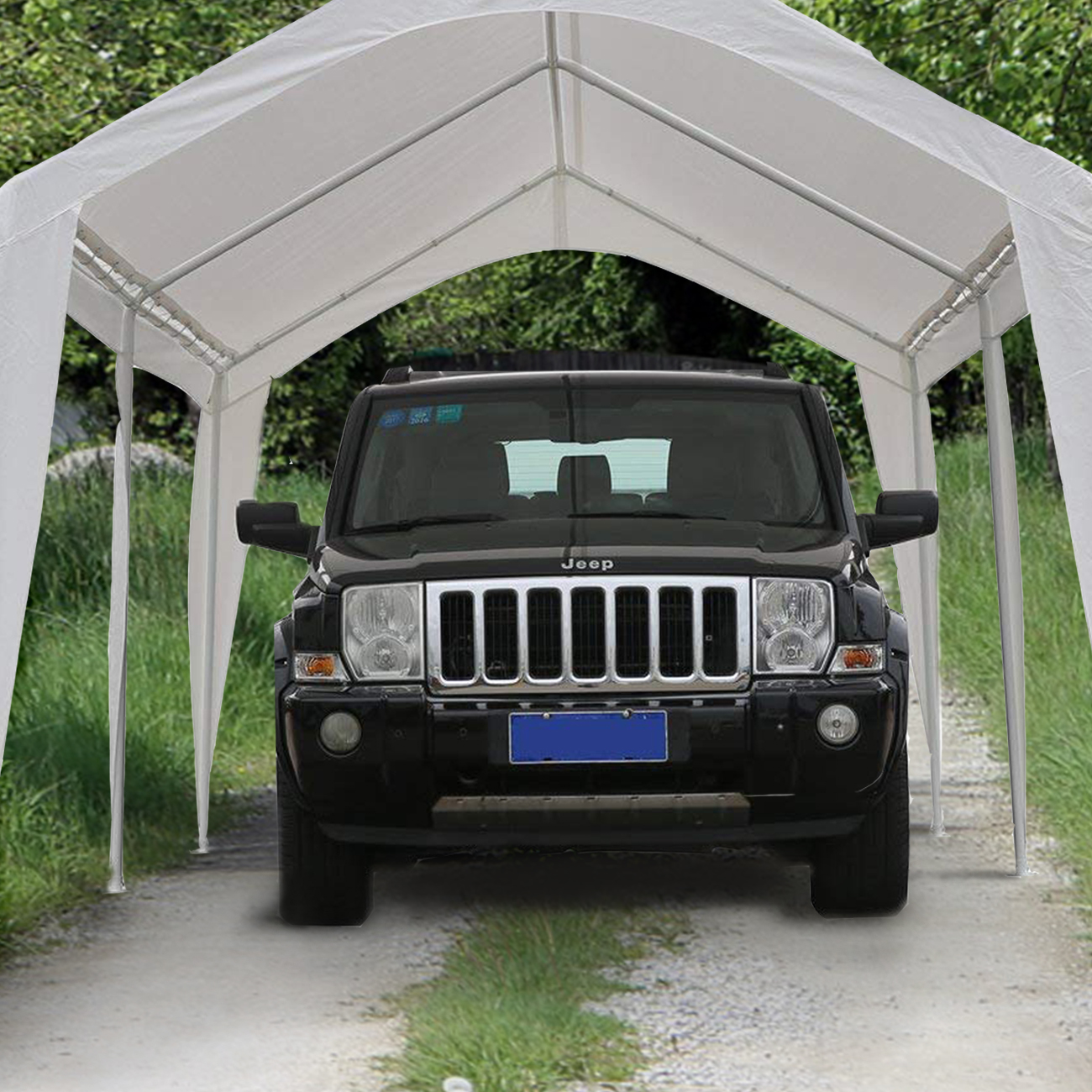 Abba Patio 10 x 20 Ft Heavy Duty Carport Canopy with 6 Steel Leg Support White
