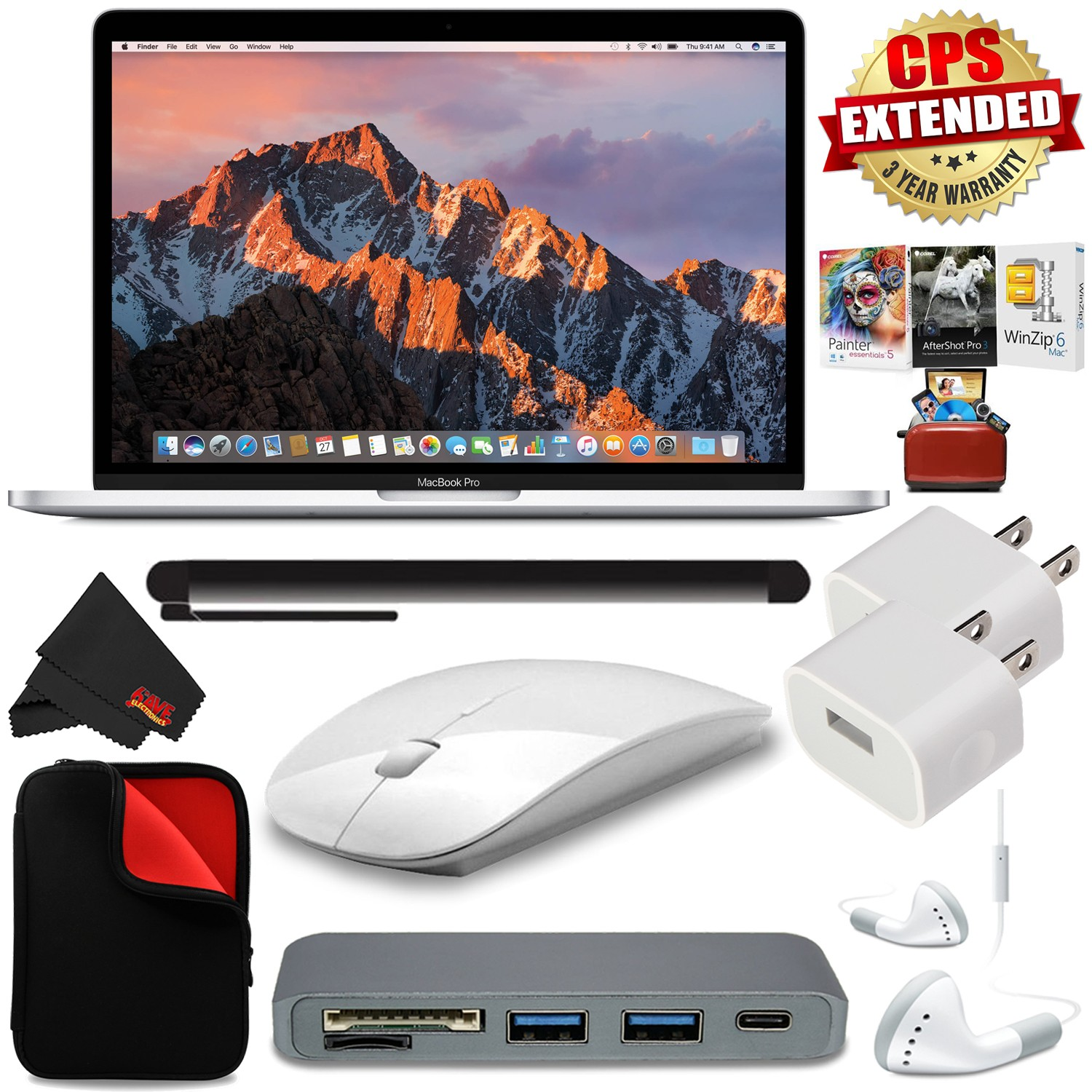 "Apple 13.3"" MacBook Pro (Silver) + MicroFiber Cloth + 2.4 GHz Slim Optical Wireless Bluetooth + Travel USB 5V Wall Charger for iPhone/iPad (White) + Universal Stylus for Tablets Bundle"