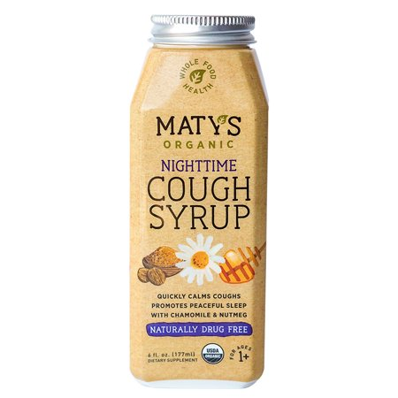 Maty's Organic Goodnight Cough Syrup, 6 Fluid Ounce, Organic Cough Remedy, Soothes Throats With Organic Honey, Chamomile & Nutmeg, Immune Boosting, Helps Ease Common Cold Symptoms, 6 Oz