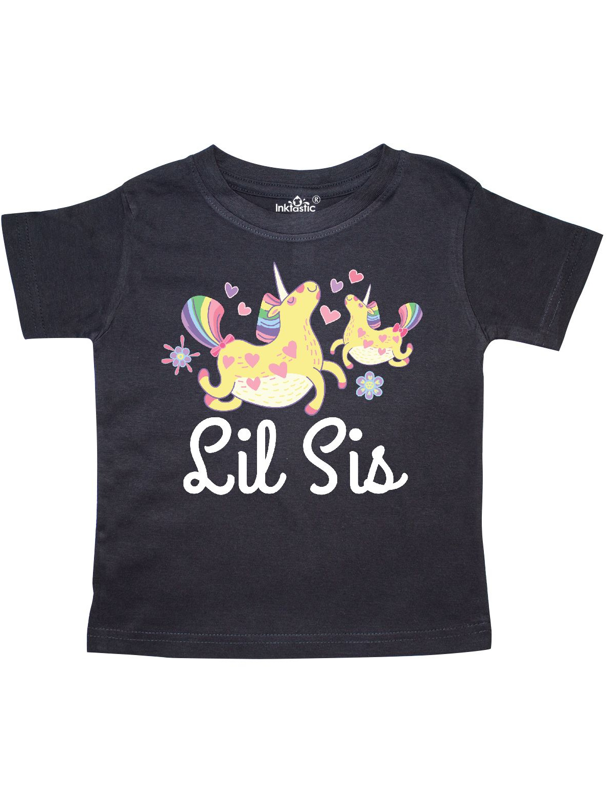 Inktastic Lil Sis Unicorn Girls Sister Toddler T-Shirt Little Cute Hearts Gift