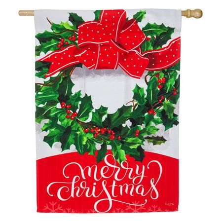 Christmas Flag Flags (Evergreen Flag Merry Christmas Bow House)