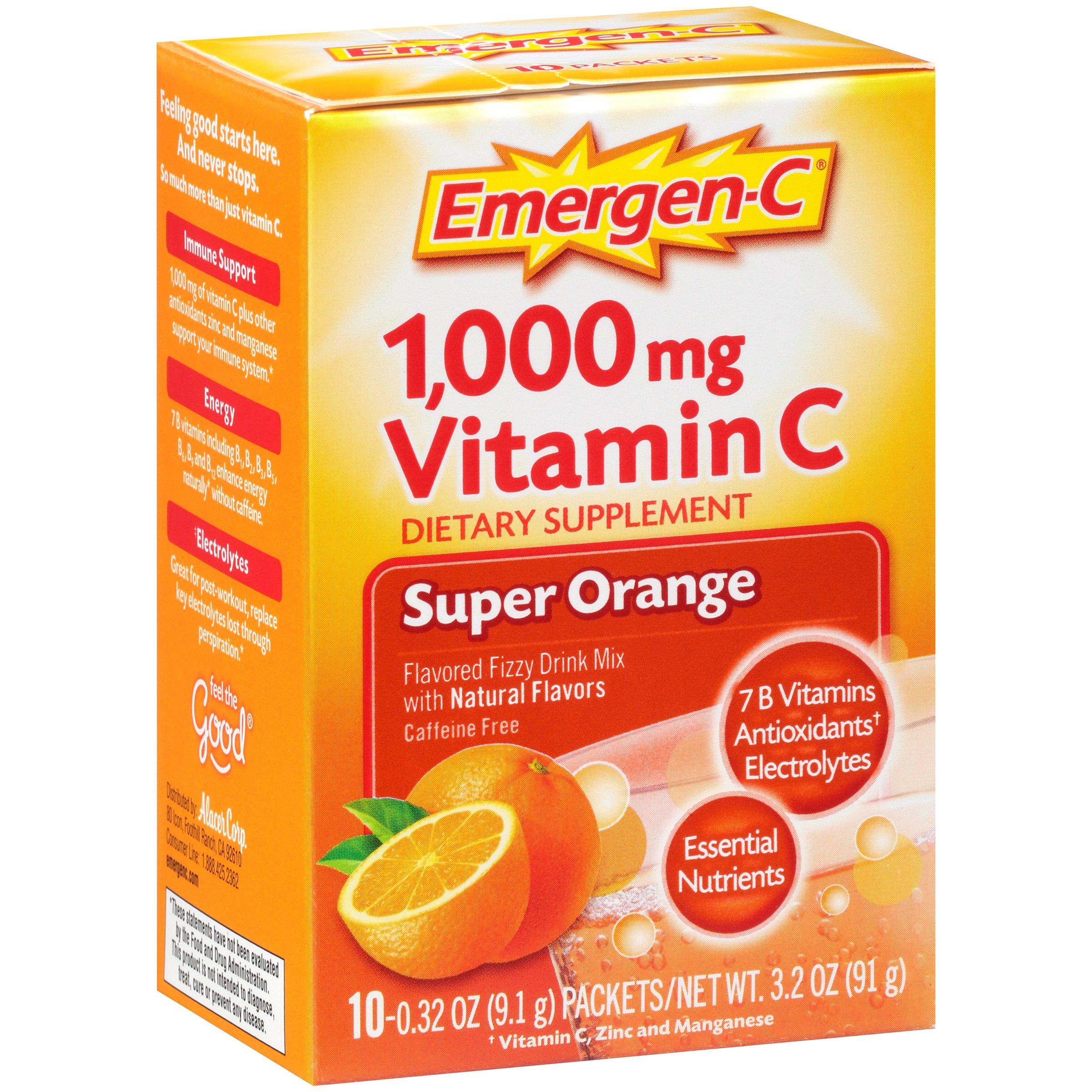 Emergen-c drink mix, super orange 1000mg packets, 10ct