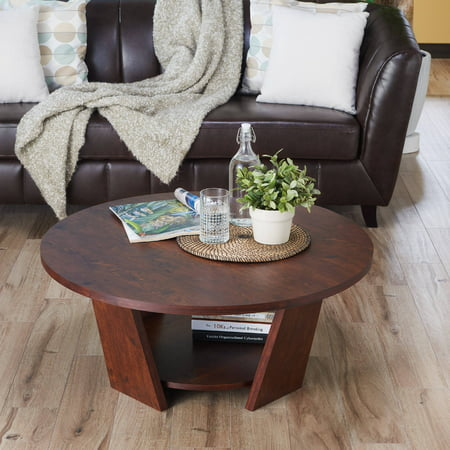 Furniture of America Ronin Round Contemporary Coffee Table, Vintage Walnut