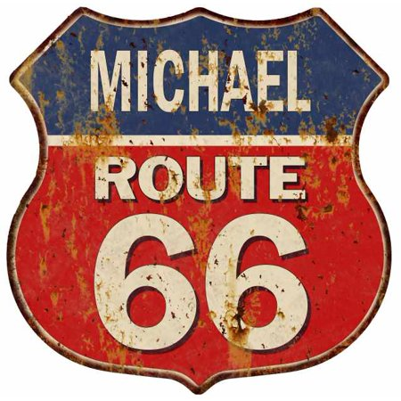 MICHAEL Route 66 Personalized Shield Metal Sign Man Cave Red 211110005422 (Michael Shield)