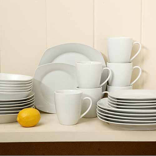 Gibson Home Liberty Hill Porcelain 30-Piece Square Dinnerware Set : gibson square dinnerware sets - pezcame.com