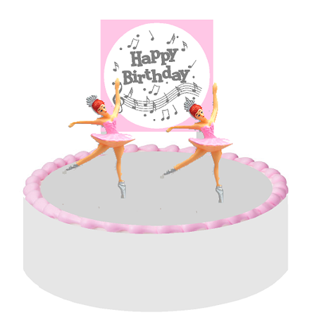Happy Birthday Music Notes Ballerina Dancers Cake Decoration Cake Topper (Ballerina Birthday)