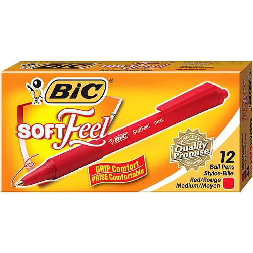 BIC Soft Feel Retractable Ball Pen, Medium, Red, 1-Dozen
