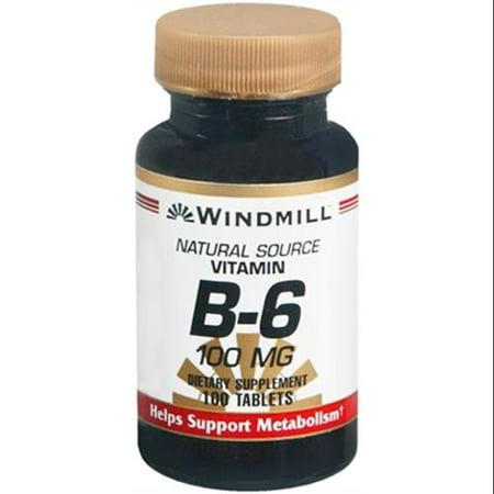 Windmill Vitamine B-6 100 mg Comprimés 100 Comprimés (Pack de 2)