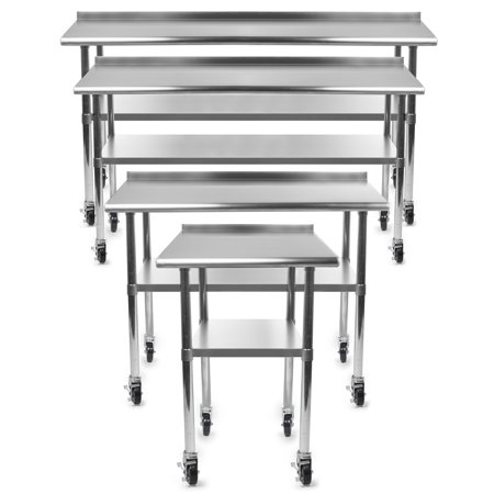 Stainless Backsplash - Gridmann NSF Stainless Steel Commercial Kitchen Prep & Work Table w/ Backsplash Plus 4 Casters- Multiple Sizes Available - 30