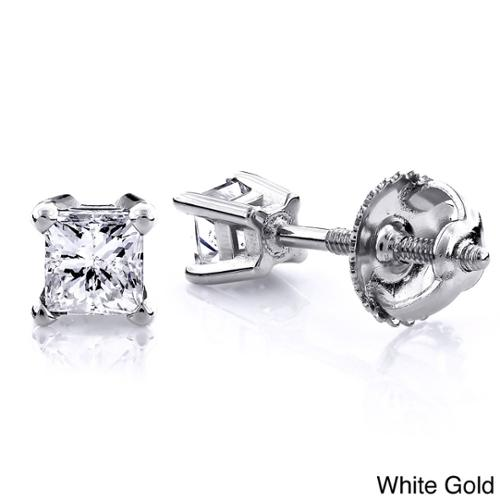 Luxurman 14k Gold 1/2ct TDW Princess Cut Diamond Stud Earrings (H-I, SI1-SI2) 14K White Gold