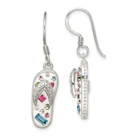 Flip White Earrings - Solid 925 Sterling Silver 8mm Stellux Crystal Multi-Color White Flip Flop Dangle Earrings