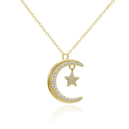 Crescent Moon & Star CZ Pendant Necklace in Gold Flash Sterling Silver