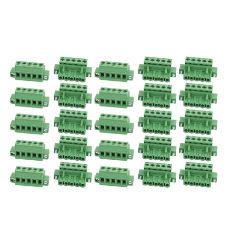 25Pcs AC 300V 15A 5.0mm Pitch 5P Terminal Block Wire Connection for PCB Mounting - image 1 de 2