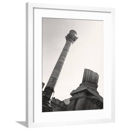 2 Way Column - Roman Columns Marking the End of the Appian Way in Brindisi Framed Print Wall Art By A. Villani
