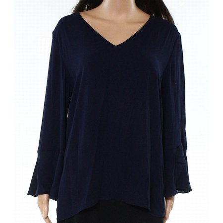 Ralph Lauren Womens Georgette Knit Blouse navy S - 70s And 80s Clothing