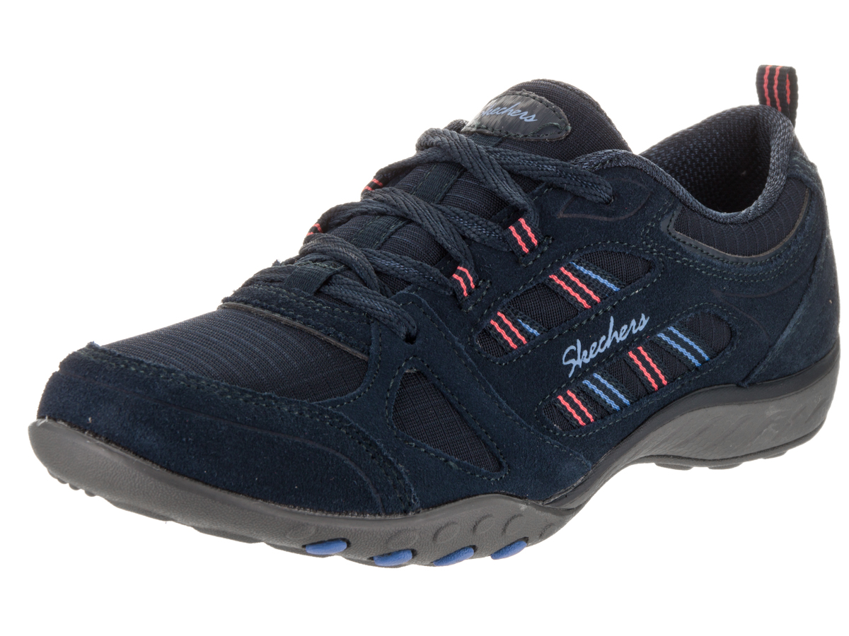 22544 Navy Skechers Shoes Memory Foam Women Comfort Casual Suede Lace Up Sneaker 22544NVY