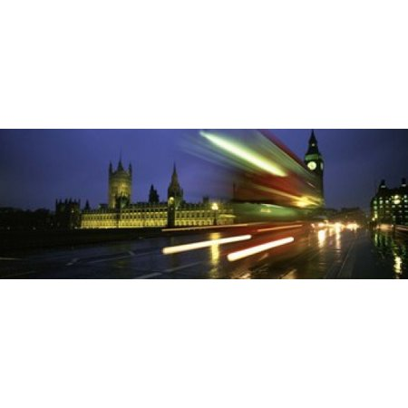 England London Houses of Parliament Traffic moving in the night Canvas Art - Panoramic Images (15 x 6) - Halloween Night Out In London