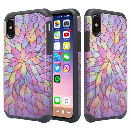 new concept 90262 b6c89 Silicone Shock Proof Apple iPhone XR Case, Hybrid Case Dual Layer  Protective Cover Girls Women Phone Case for iPhone XR - Rainbow Flower