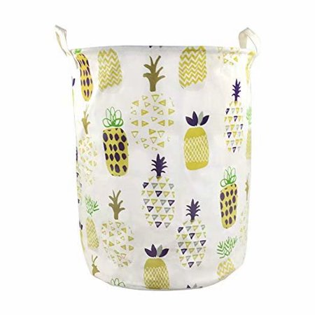 19 x 16.5 Inches Extra Large Canvas Fabric Folding Storage bin with Handle Waterproof Home Decor Laundry Hamper Organize Pineapple Storage Baskets for Dirty Clothes, Toy (Yellow) ()