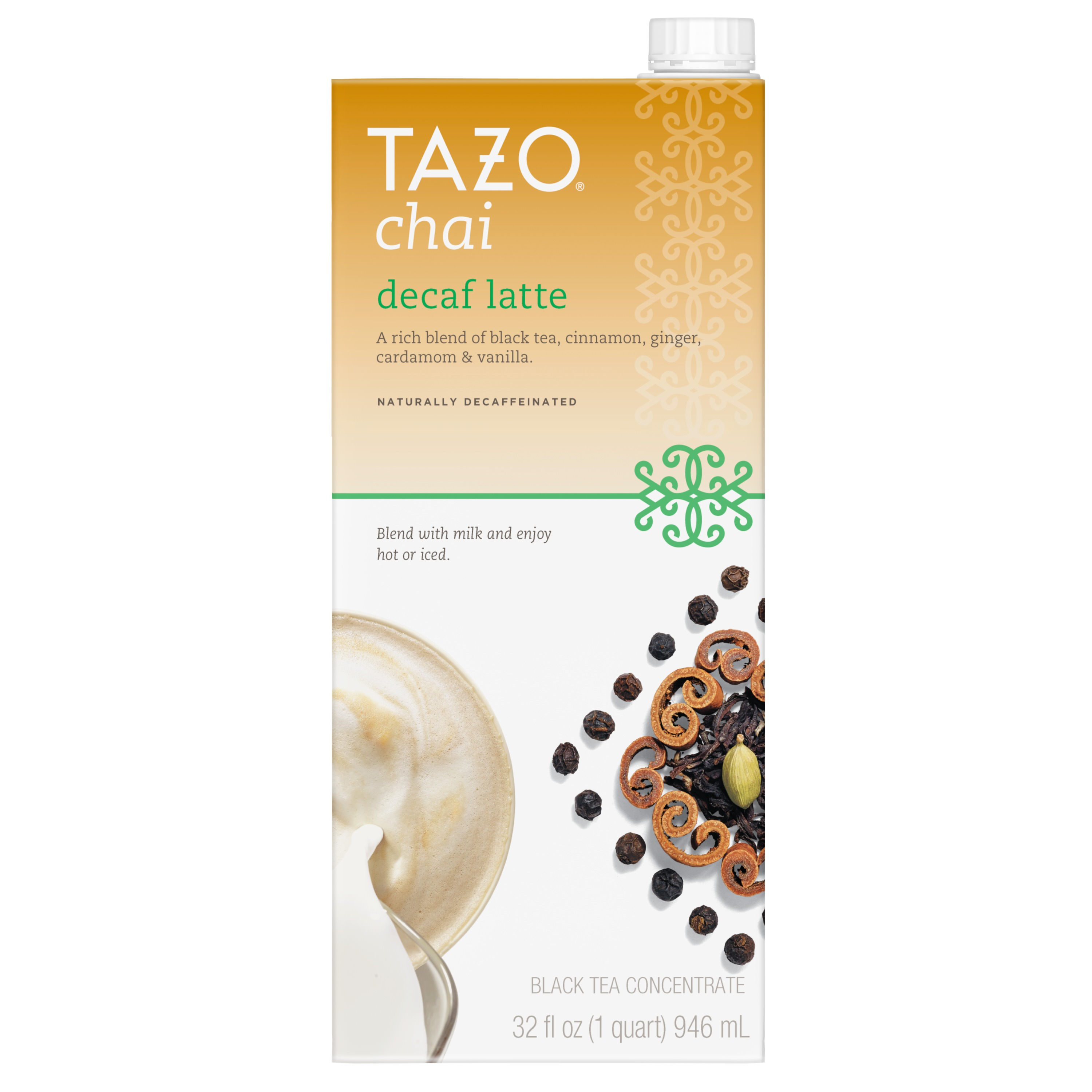 (6 Pack) Tazo Decaf Chai latte Concentrate Black tea 32 OZ