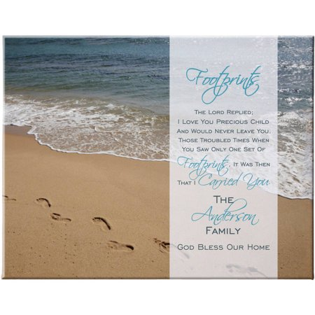 Personalized Footprints in the Sand Canvas](Natural Canvas)