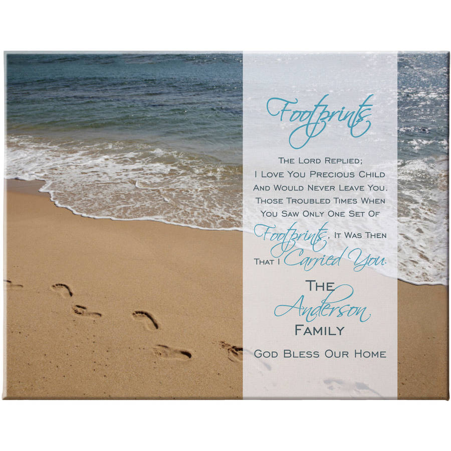 Personalized Footprints in the Sand Canvas