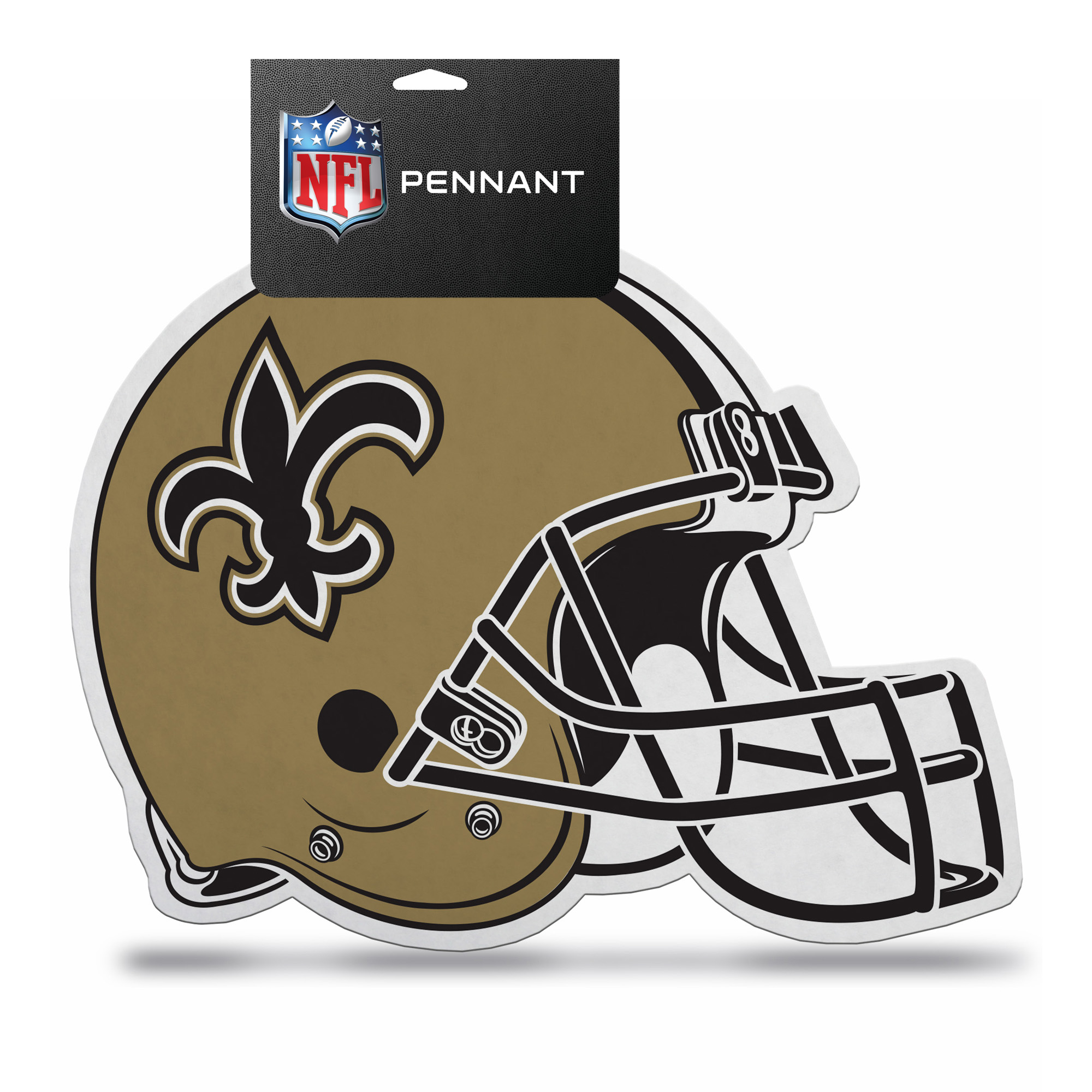 New Orleans Saints Official NFL 15 inch x 12 inch  Helmet Die Cut Pennant by Rico Industries